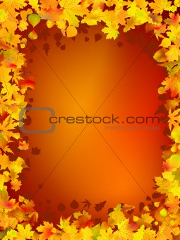 Autumn frame from leaves