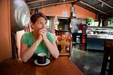 Woman in a Costa Rican cafe