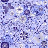 Seamless floral violet-blue pattern