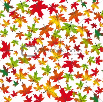 Autumnal leaves seamless background. Vector