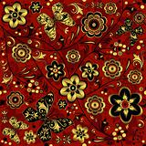 Red-gold-black seamless vintage pattern