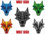 Wolf emblem in sharp futuristic red indian style JPEG