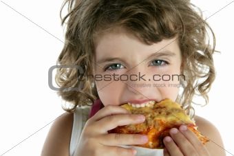 beautiful  little girl eating pizza