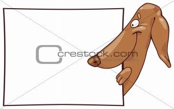 Dachshund dog and card