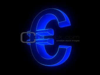 glowing euro sign