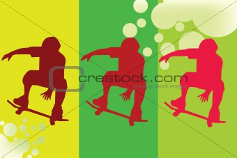 Abstract representation of skater silhouette in green tones