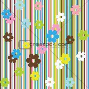 Background with multicolored stripes and flowers