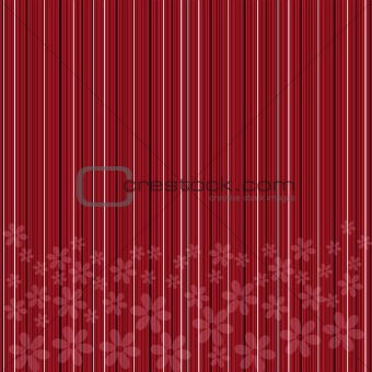 Background with red stripes and flowers