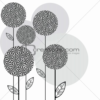 Background with retro flowers, greeting card