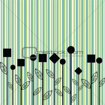 Background with stylized flowers made of geometrical shapes