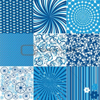 Set of blue and white backgrounds