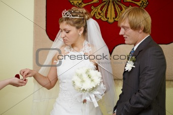 Moment of wearing of wedding rings