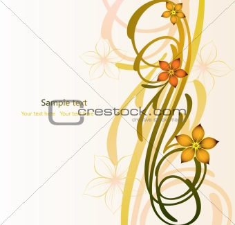 Abstract autumn image with flowers. Vector