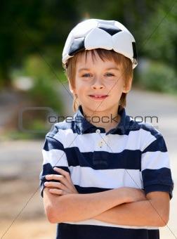 Football fan kid