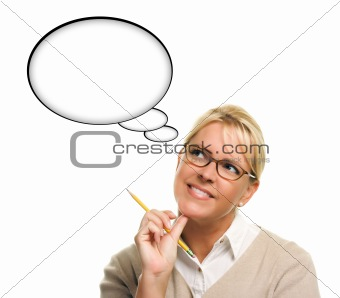Beautiful Woman and Blank Thought Bubbles with Clipping Path Isolated on a White Background - Ready for Your Own Words or Picture.