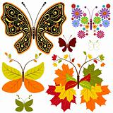 Set abstract floral butterflies