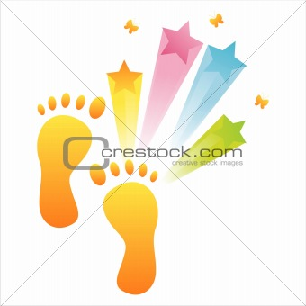 foot steps with splash
