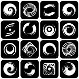 Design elements set. Abstract icons with spiral motion.
