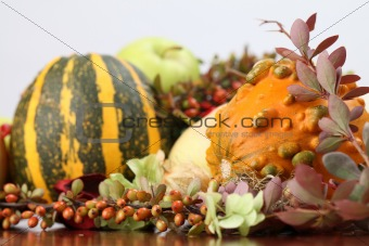 Autumn arrangement with pumpkins