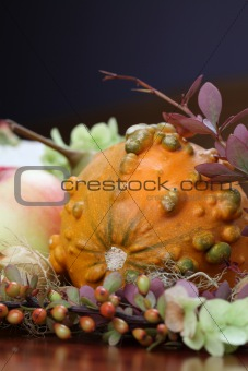 Autumn arrangement with pumpkin