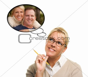 Beautiful Woman with Thought Bubbles of Herself and A Guy Isolated on a White Background.