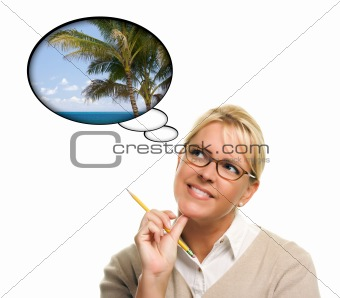 Beautiful Woman with Thought Bubbles of a Tropical Place Isolated on a White Background.