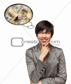 Beautiful Multiethnic Woman with Thought Bubbles of Money Stacks Isolated on a White Background.