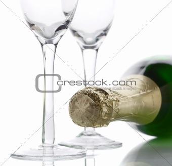 Champagne bottle high key light