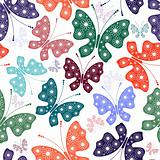 Seamless white floral pattern with butterflies