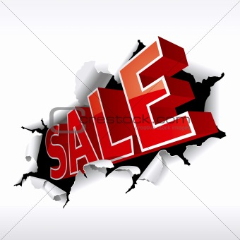 """SALE"" inscription break through white background. Vector Illust"