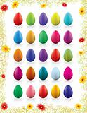 twenty-five colorful vector eggs