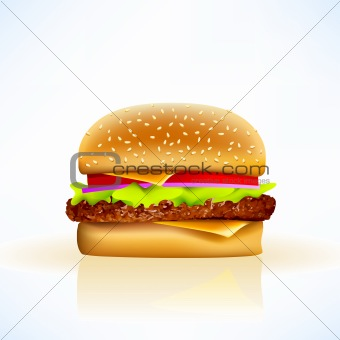 delicious realistic vector cheeseburger