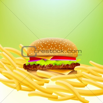 vector cheeseburger and fries