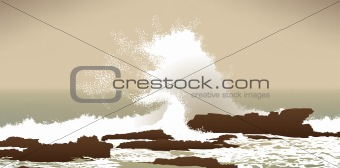 large Pacific Ocean wave crashing into rocks