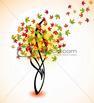 Autumn tree for your design. Vector