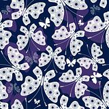 Seamless violet-white pattern with butterflies