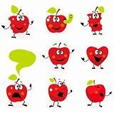 Funny red Apple fruit characters isolated on white background