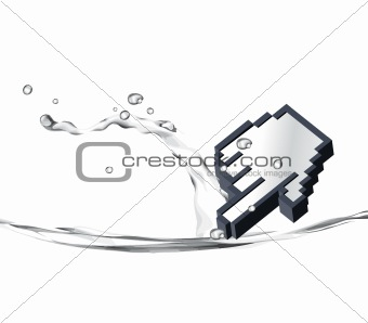 3d pointer dropping in water