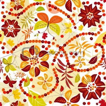 Autumn flowers (seamless)