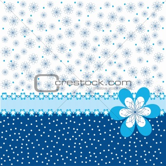 Blue background with flowers and dots