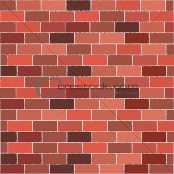 Brick wall with different color tones