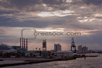 Port Everglades cruise and cargo terminal at sunset