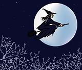 The witch flying on a broom against the moon