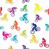Colored pattern with bikers