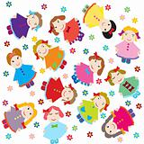 cute baby background with dolls