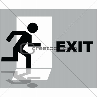 Grey exit sign icon