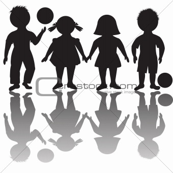 Four children silhouettes with balls