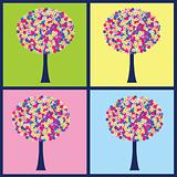 Four illustrations with colored trees