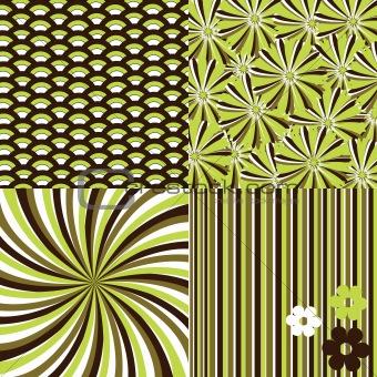 Four seamless retro backgrounds