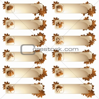 Set of 12 autumnal labels